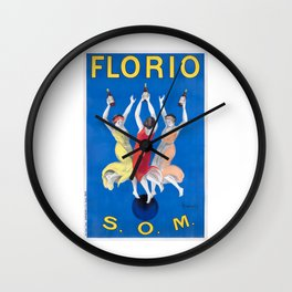1911 Florio S.O.M. Wine French Advertising Poster Wall Clock