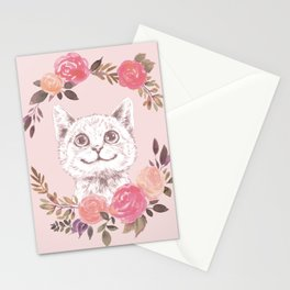 Cat in floral wreath Stationery Cards
