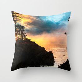 Sunset at Shore Acres State Park, Oregon Throw Pillow