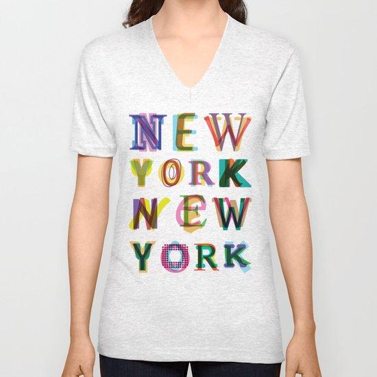 New York New York Unisex V-Neck