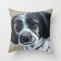 finn Throw Pillows featuring Finn by Ginny M