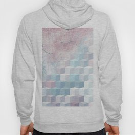 Distressed Cube Pattern - Pink and blue Hoody