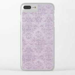 Vintage chic violet lilac floral damask pattern Clear iPhone Case