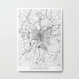 Luxembourg Map White Metal Print