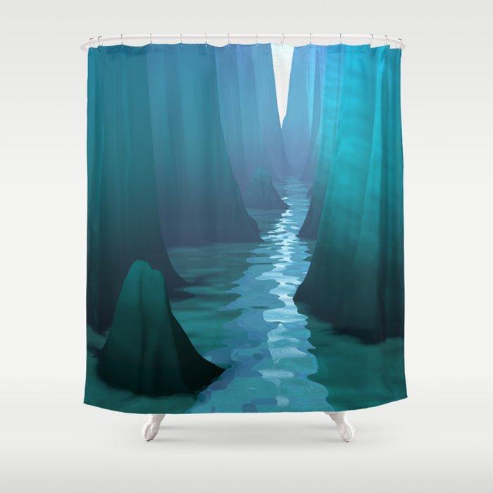 Blue Canyon River Shower Curtain