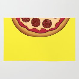 Pizza Home Decor Yellow Art Print Italian Cuisine Pepperoni salami Kitchen Decoration Yellow Art Rug