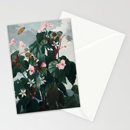 The Oblique-Leaved Begonia - The Temple of Flora Stationery Cards