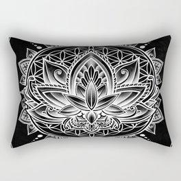 Lotus Mandala - Black Rectangular Pillow