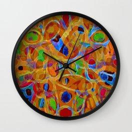 Orange Blue Green Color Blob Abstract Wall Clock