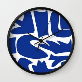 Blue shapes on white background Wall Clock