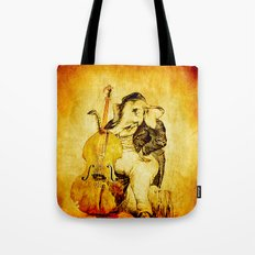 The elephant in the double bass Tote Bag