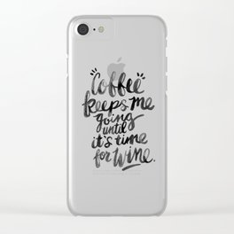 Coffee & Wine – Black Ink Clear iPhone Case