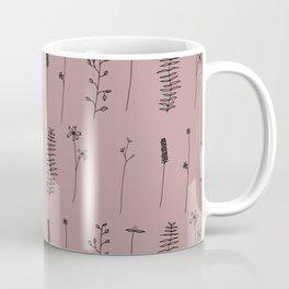 Minimal Flower Pattern Thin Line Dusty Pink Coffee Mug