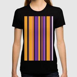 Mid Century modern retro vintage lilac magenta purple yellow orange stripes T-shirt