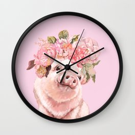 Baby Pig with Flowers Crown Wall Clock