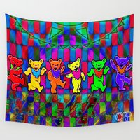 grateful dead Wall Tapestries featuring Grateful Dead Dancing Bears Colorful Psychedelic Characters #1 by CAP Artwork & Design