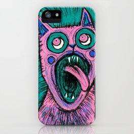 Litte Scary Kitten in Pink iPhone Case