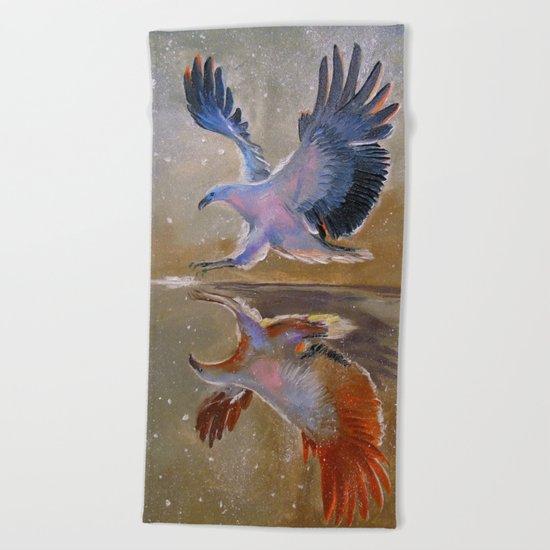 eagle hunting Beach Towel