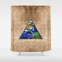 all seeing eye Shower Curtains featuring All Seeing Eye by Spooky Dooky