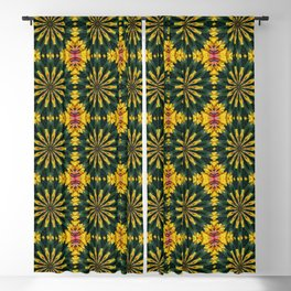 Green and Yellow Rich Colored Floral Tiled Pattern Blackout Curtain