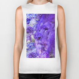 LION AND ORCHIDS  PURPLE AND BLUE FANTASY DREAM Biker Tank