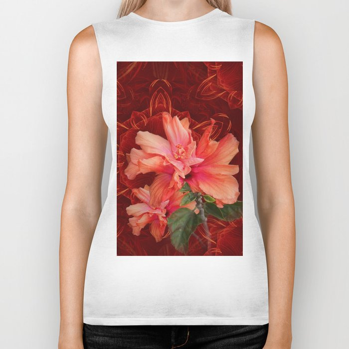 Orange hibiscus and vibrant kaleidoscope Biker Tank