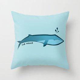 Sad Whale Throw Pillow