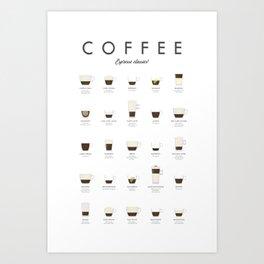 Coffee Chart - Espresso Classics Art Print