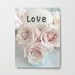 Shabby Chic Romantic Pink Roses Love Print Home Decor Metal Print