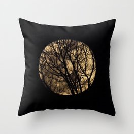Full Moon though the trees Throw Pillow