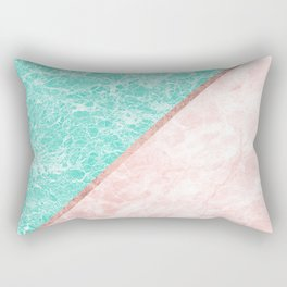 Turquoise teal pink rose gold geometrical marble Rectangular Pillow