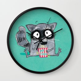 Popcorn Raccoon - Movie buddy! Wall Clock