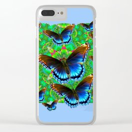 EXOTIC BLUE-BROWN BUTTERFLY ART Clear iPhone Case
