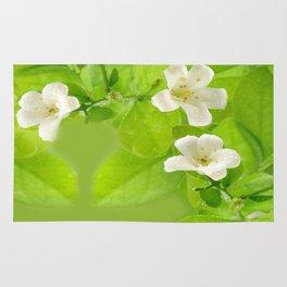 Small White Flowers on Vine Rug
