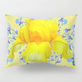 YELLOW & BLUE-WHITE IRIS BLACK ABSTRACT PATTERN Pillow Sham