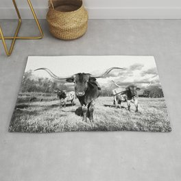 Longhorn Cattle Black and White Highland Cows  Rug
