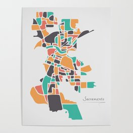 Sacramento California Map with neighborhoods and modern round shapes Poster