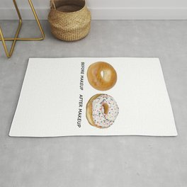 Before And After Makeup - Hilarious Funny Donut Illustration Rug