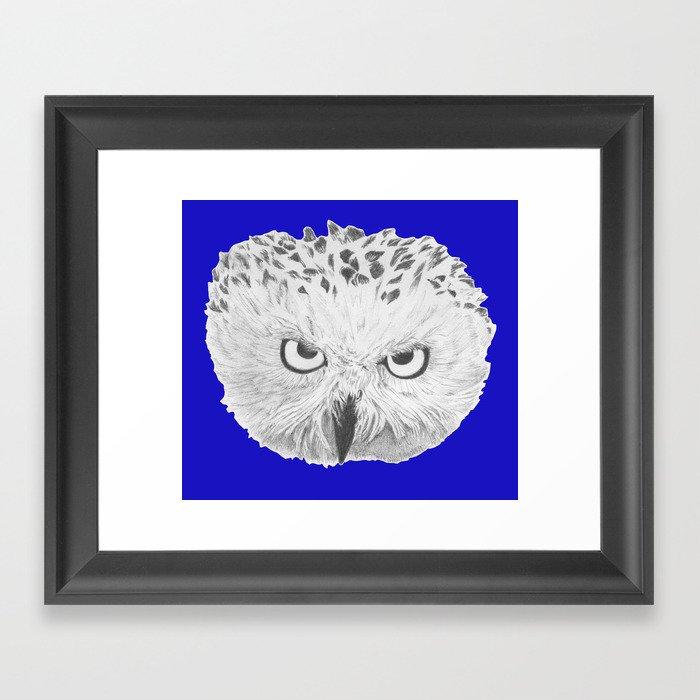 Snowy Owl Bright Blue Framed Art Print