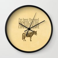 pride and prejudice Wall Clocks featuring Pride and Prejudice Apology...  by studiomarshallarts