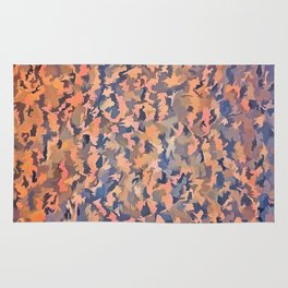 Abstract Seamless Shagpile Pale Blue and Peach Rug