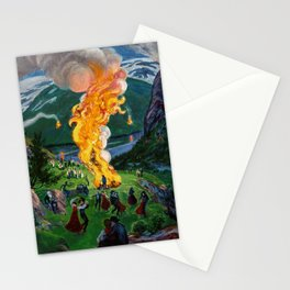 Tyrol Alpine River Valley Bonfires of the Summer Solstice landscape painting by Nikolai Astrup Stationery Cards