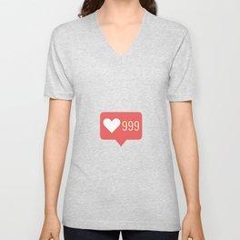 999,heart,love,like,j,adore,i,love,follow, sub Unisex V-Neck