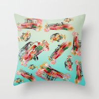 cars Throw Pillows featuring cars  by mark ashkenazi