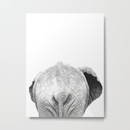 Black and white elephant animal jungle Metal Print