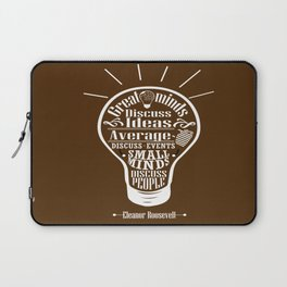 Great minds & small minds discuss ideas Inspirational Motivational Quote Design Laptop Sleeve