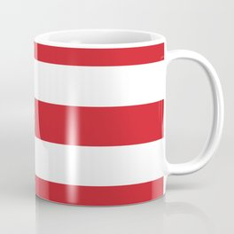 Fire engine red -  solid color - white stripes pattern Coffee Mug
