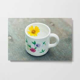 The cup with florl pattern and small yellow flower inside Metal Print