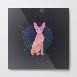 Galaxy Sphynx Cat Metal Print