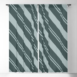 Blue Willow Green PPG1145-4 Thick and Thin Angled Stripes on Night Watch PPG1145-7 Blackout Curtain
